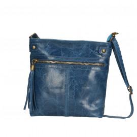 Kožená menší modrá blue jeans crossbody kabelka na rameno Emilie Two