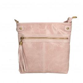 Kožená menší růžová crossbody kabelka na rameno Emilie Two