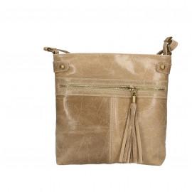 Kožená menší béžová taupe crossbody kabelka na rameno Emilie Two