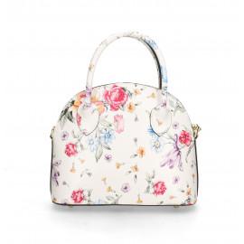 Kožená luxusní bílá kabelka s motivem květin a krokodýlím vzorem Edit