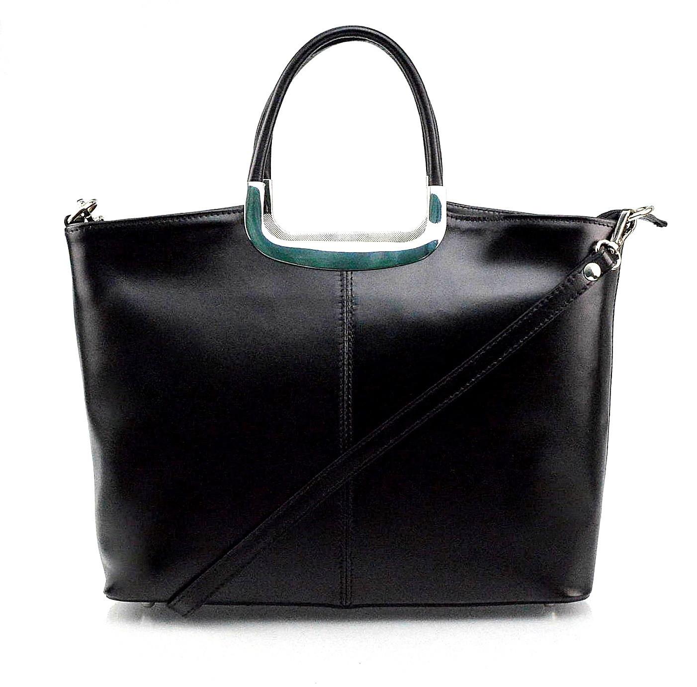 Kožená luxusní menší černá kabelka Amelia