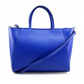 Kožená luxusní sytě modrá kabelka přes rameno Daveney