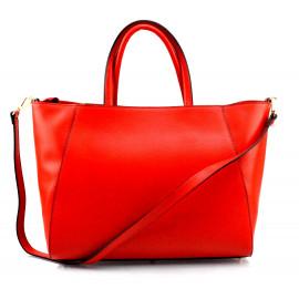 Kožená luxusní sytě červená kabelka přes rameno Daveney
