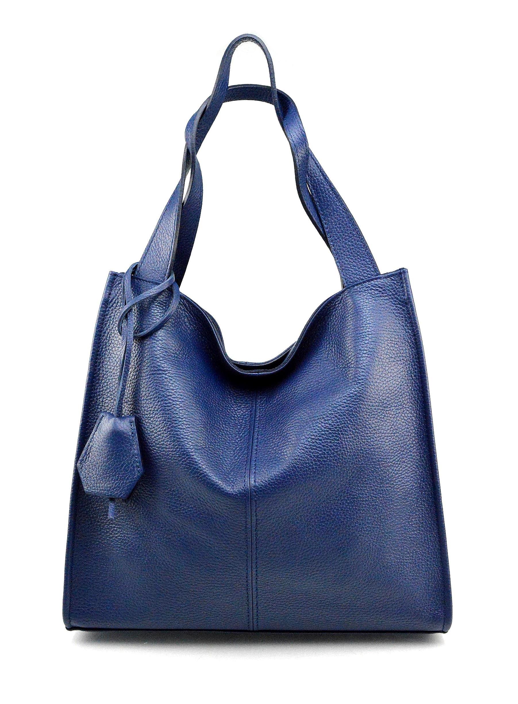Kožená luxusní sytě modrá kabelka přes rameno Darci Little