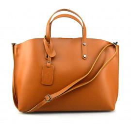 Kožená tmavší hnědá camel velká taška Tanie 2v1