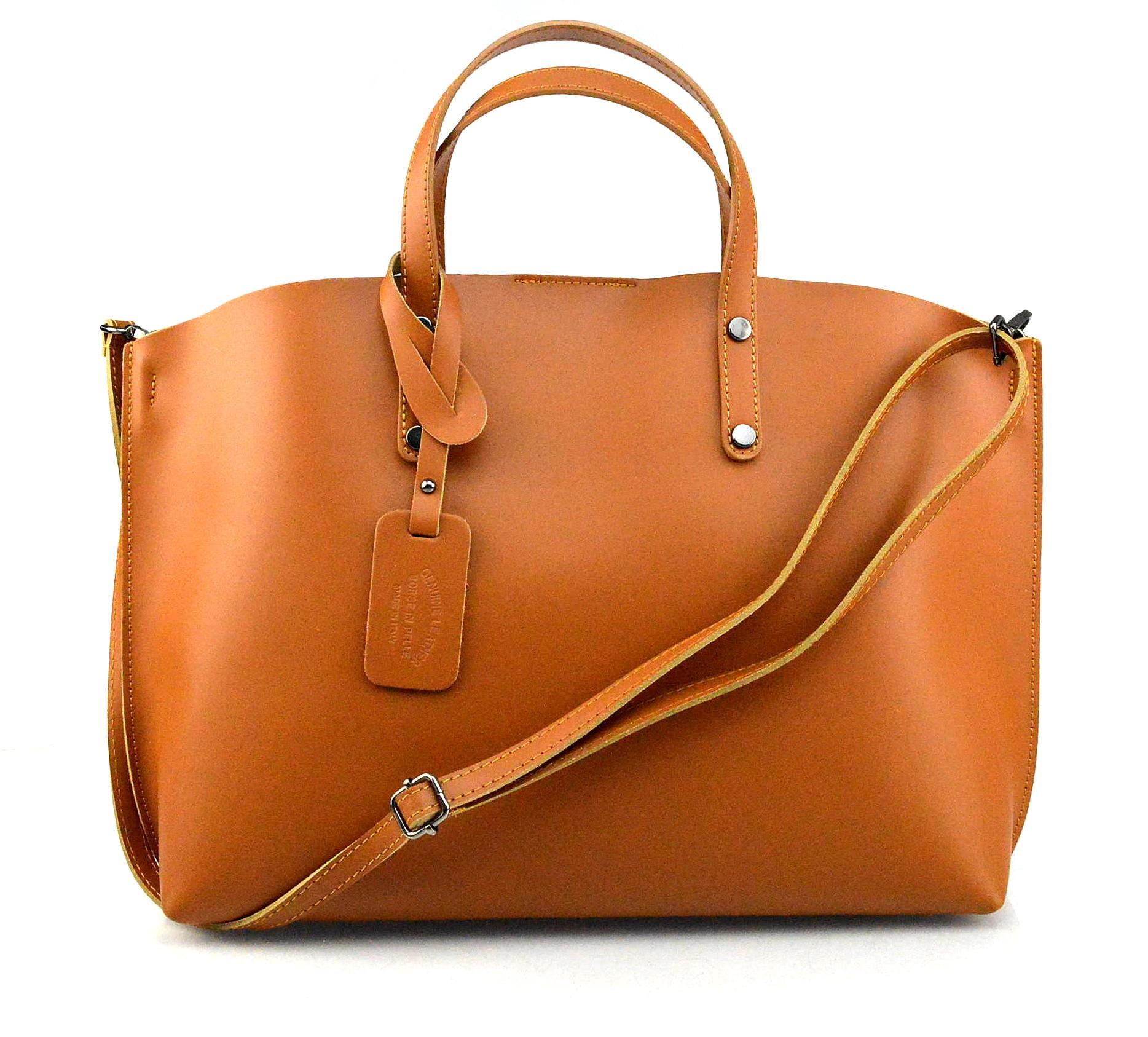 Kožená hnědá camel velká taška Tanie 2v1