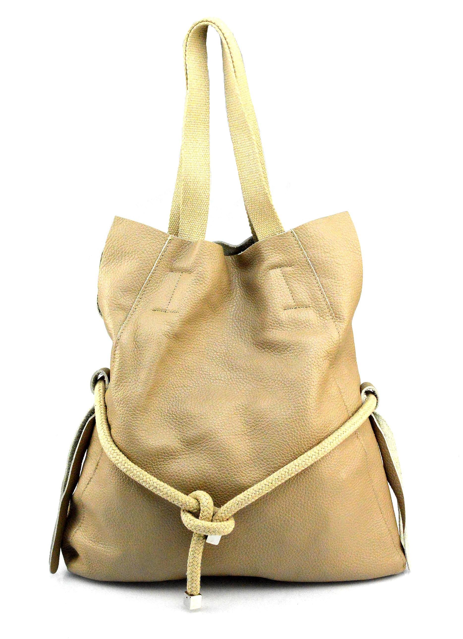 Kožená béžová taupe velká shopper taška na rameno claudia two