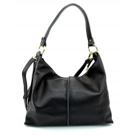 Kožená velká černá taška na rameno clarita