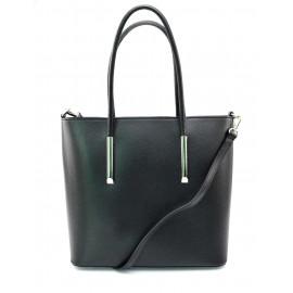 Kožená luxusní černá kabelka přes rameno cherril