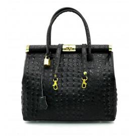 Kožená luxusní černá krokodýlí kabelka Aliste Croco