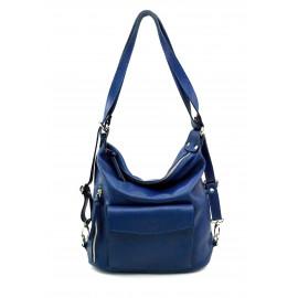 Praktická kožená větší sytě modrá kabelka a batoh 2v1 Karin