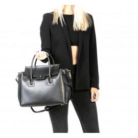 Kožená luxusní černá kabelka do ruky Liana