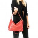 Kožená velká růžová taška na rameno clarita
