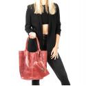 Kožená červená bordó shopper taška na rameno melani