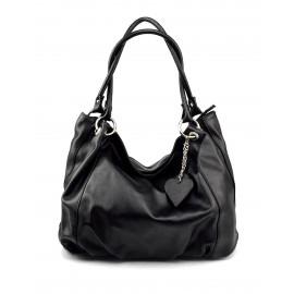 Kožená černá velká taška na rameno marleni