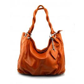 Kožená hnědá koňaková velká taška na rameno marleni