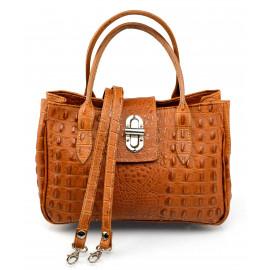 Kožená luxusní menší hnědá camel kabelka do ruky lila little