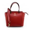 Kožená menší sytě červená kabelka do ruky sofia