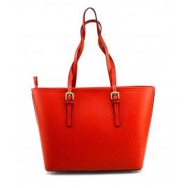 Kožená luxusní velká sytě červená kabelka přes rameno Alisane
