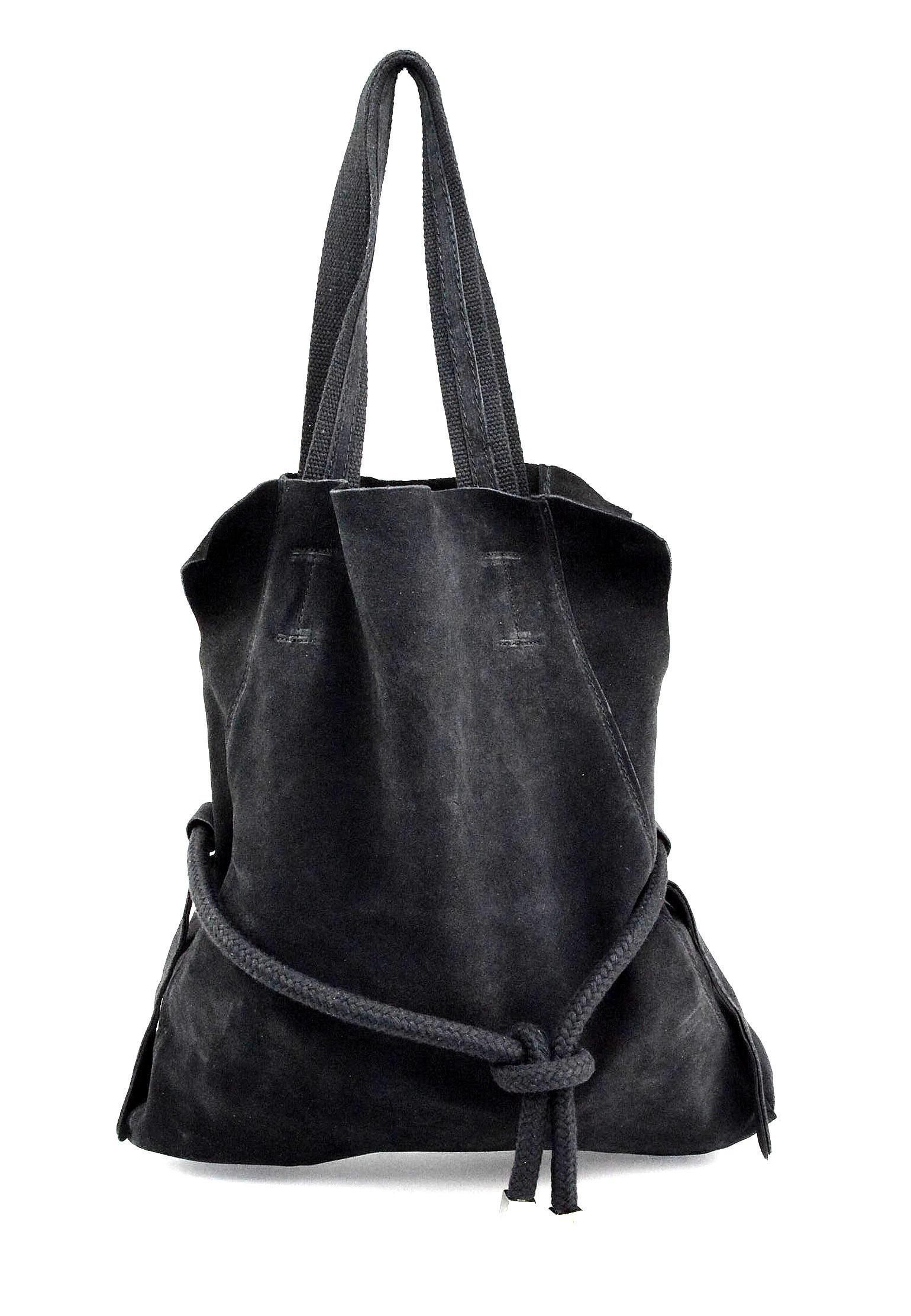 Kožená černá velká shopper taška na rameno claudia