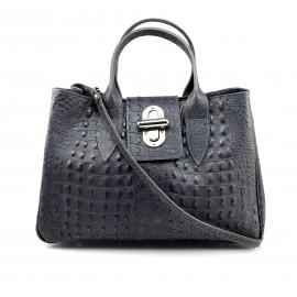 Kožená luxusní krokodýlí tmavě šedá kabelka do ruky Lila