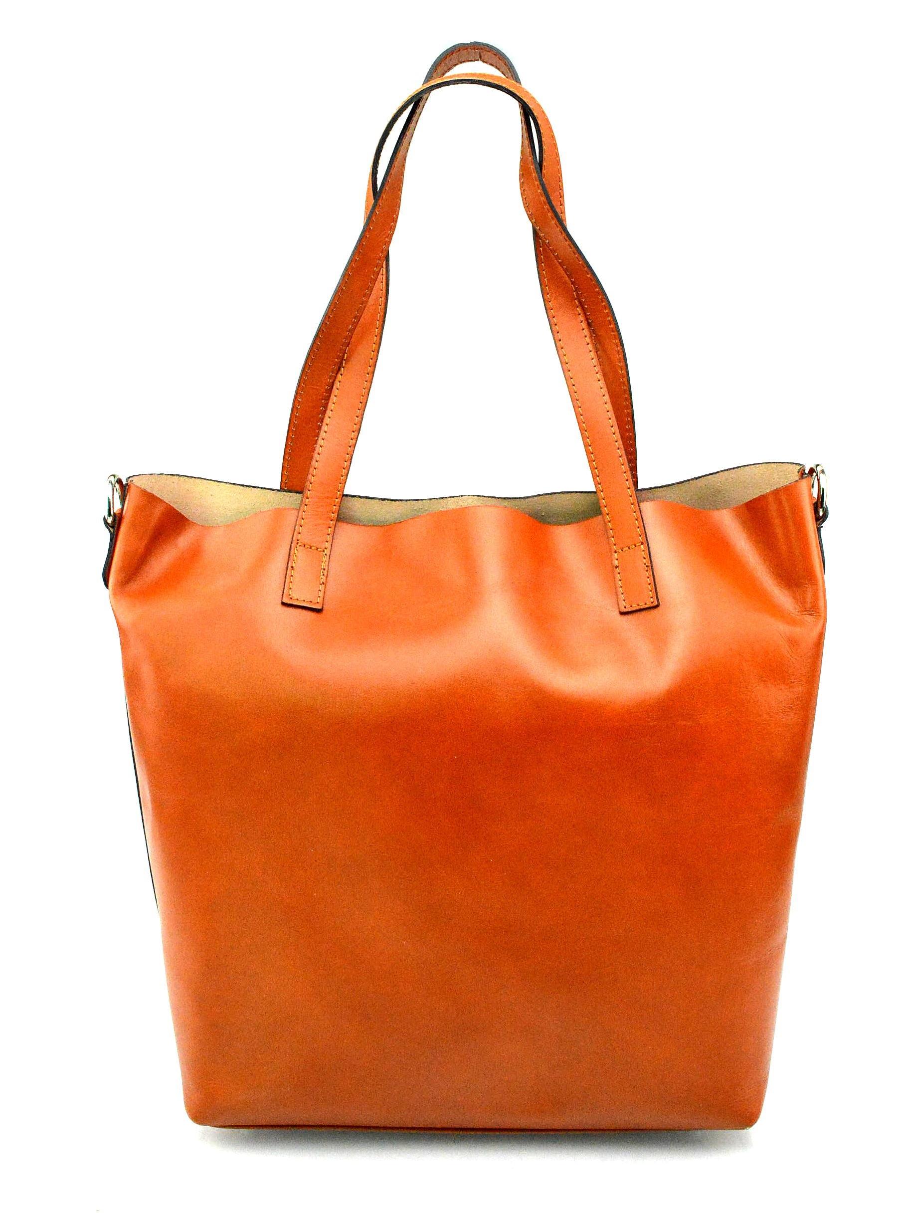 Kožená praktická mahagonově hnědá velká taška Evita 2v1
