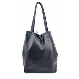 Kožená tmavě modrá shopper taška na rameno Melani Two Winter