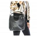 Kožená luxusní černá kabelka přes rameno Denice