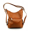 Praktická kožená větší hnědá camel kabelka a batoh 2v1 Karin Two