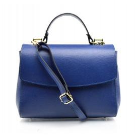 Kožená luxusní menší modrá kufříková kabelka joane