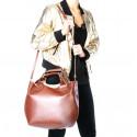 Kožená tmavě hnědá dark brown shopper taška do ruky 2v1 sandi