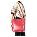 Kožená praktická bordó velká shooper taška Evita 2v1