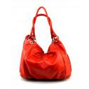 Kožená červená bordó velká taška na rameno marleni