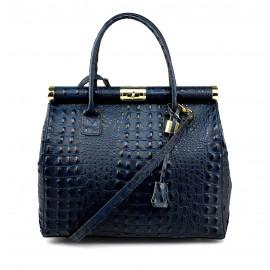 Kožená luxusní tmavě modrá krokodýlí kabelka Aliste Croco