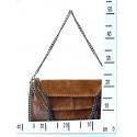 Kožená luxusní sytě červená kabelka přes rameno Brigite