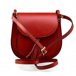 Kožená větší tmavší červená crossbody kabelka na rameno Bella