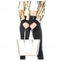 Kožená luxusní velká stříbrná kabelka přes rameno alisane