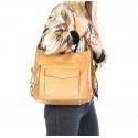 Praktická kožená větší tmavě červená kabelka a batoh 2v1 Karin