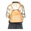 Praktická kožená větší béžová taupe kabelka a batoh 2v1 karin