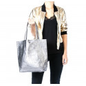 Kožená tmavě modrá leská shopper taška na rameno Melani Two Summer