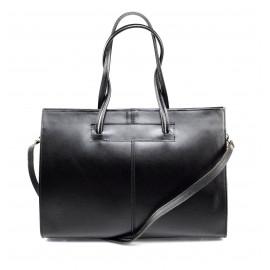 Kožená praktická velká černá kabelka Business