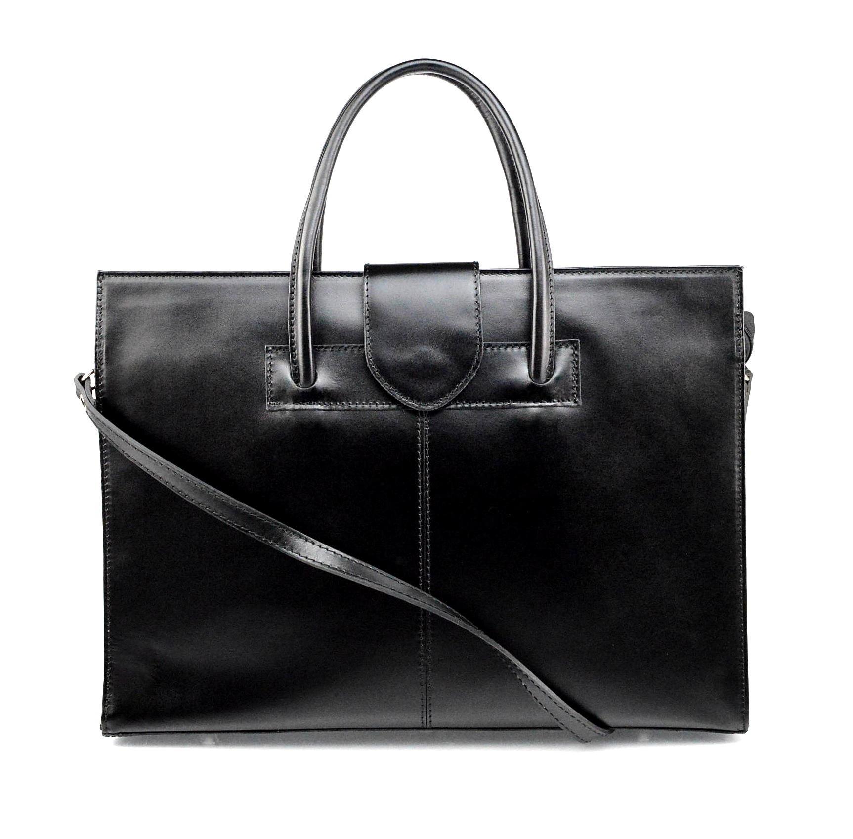 Kožená praktická velká černá kabelka Business two