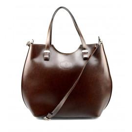 Velká luxusní tmavě hnědá kožená kabelka přes rameno Catherine