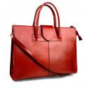 Kožená praktická červená bordó kabelka Business Two