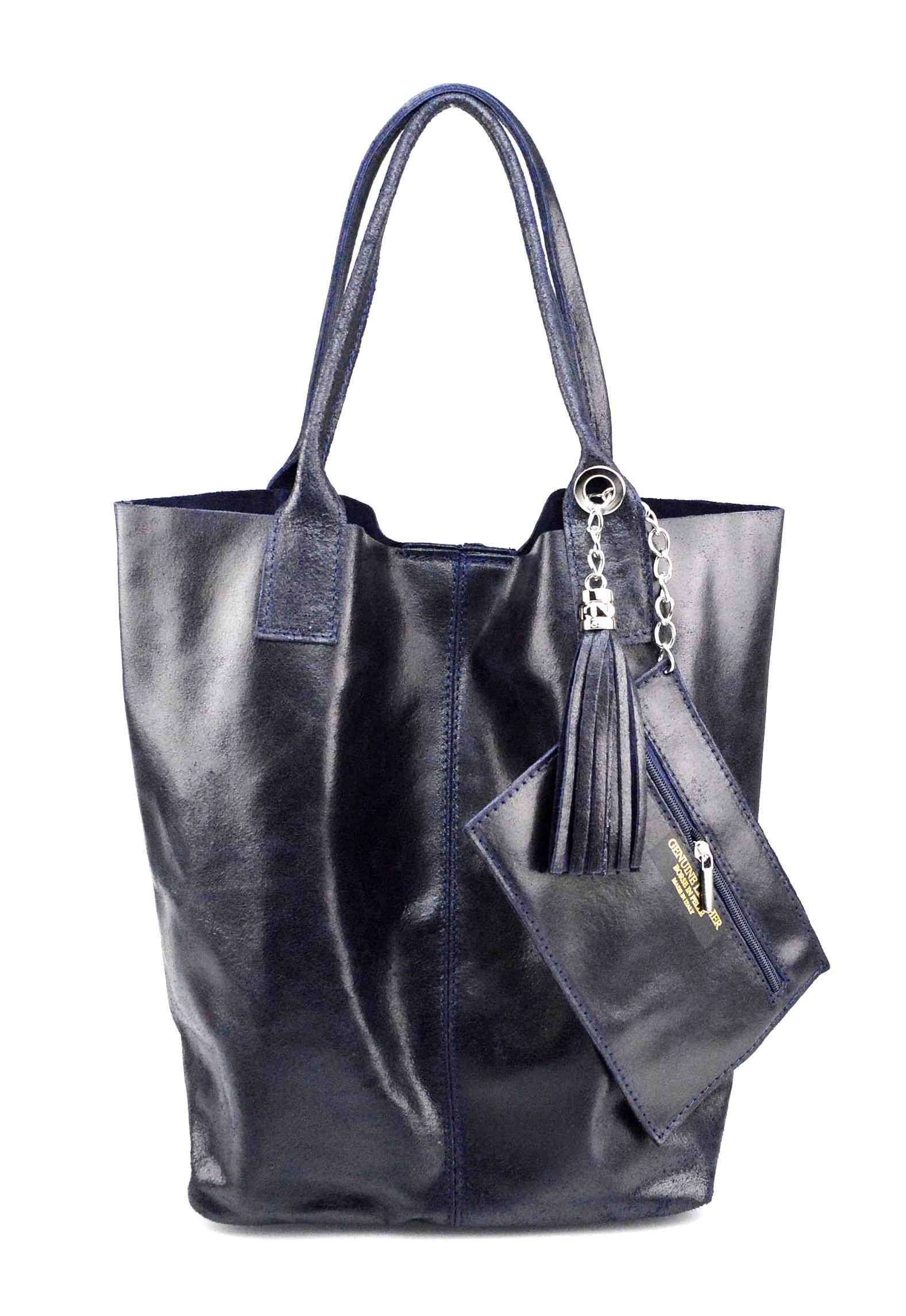Kožená modrá shopper taška na rameno melani