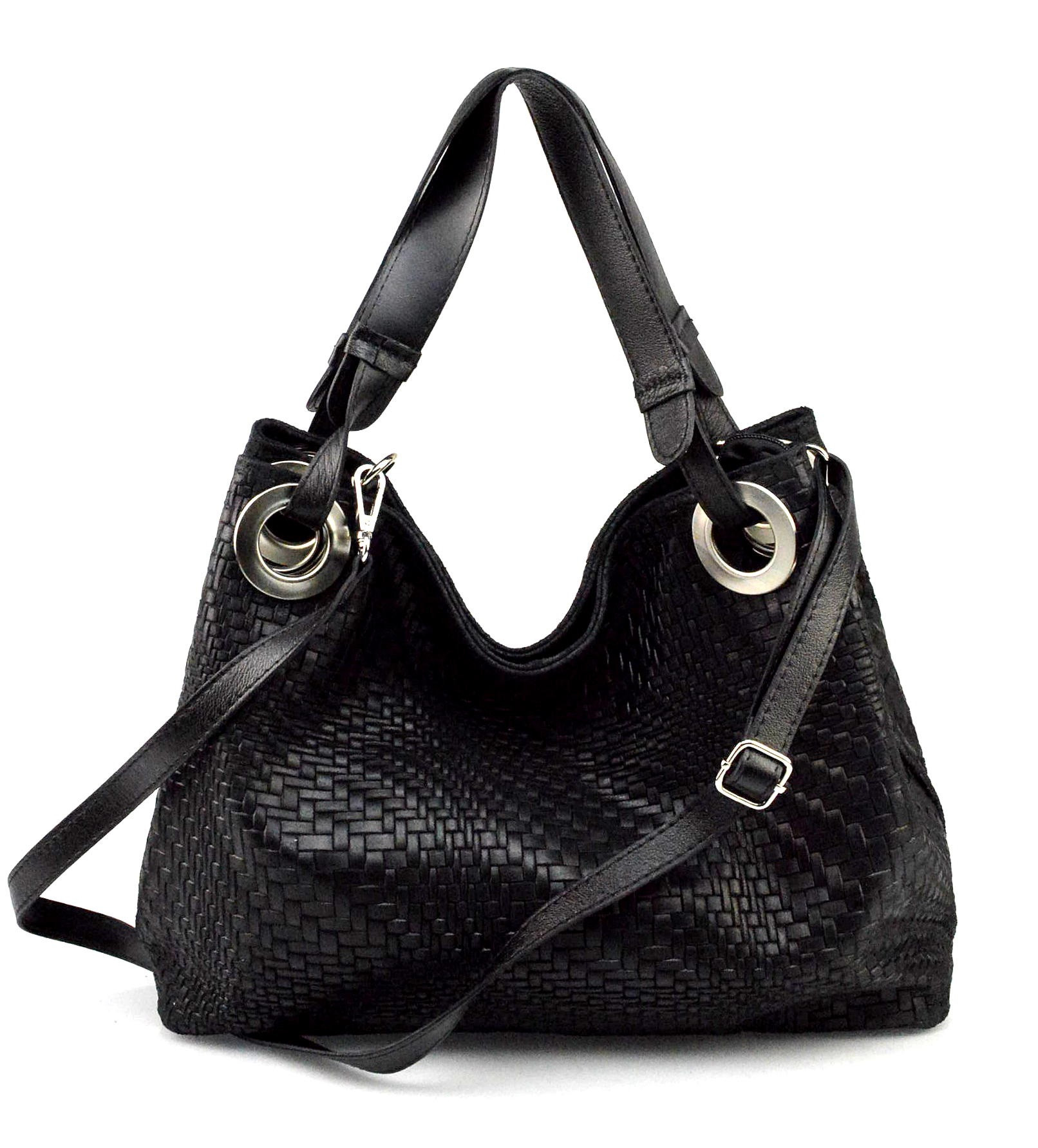 Kožená černá kabelka na rameno Madeleine