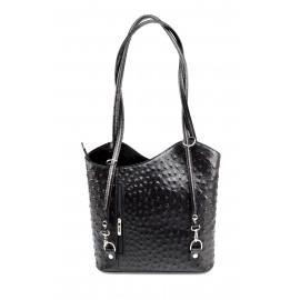 Kožená luxusní menší černá crossbody kabelka Royal