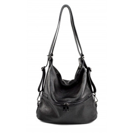 Praktická kožená větší černá kabelka a batoh 2v1 karin