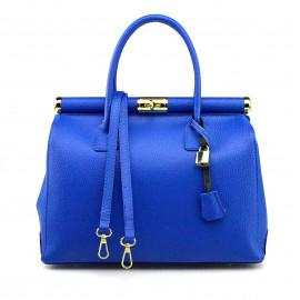 Kožená luxusní sytě modrá kabelka Aliste