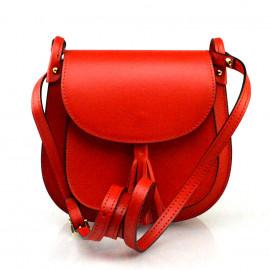 Kožená větší sytě červená crossbody kabelka na rameno Bella